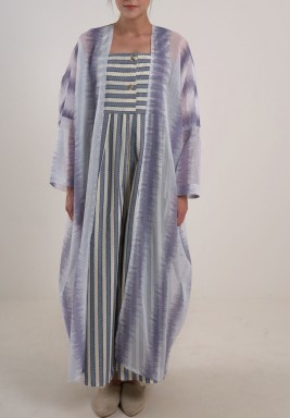 Stripes jumpsuit and bisht