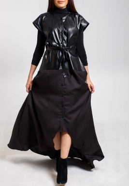 Leather top bisht  Black