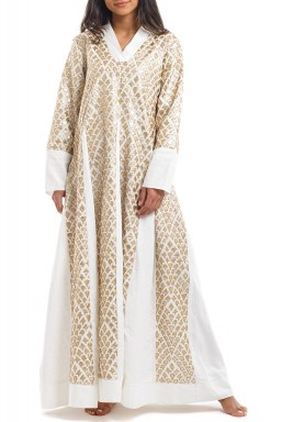White & Gold Embellished Dress