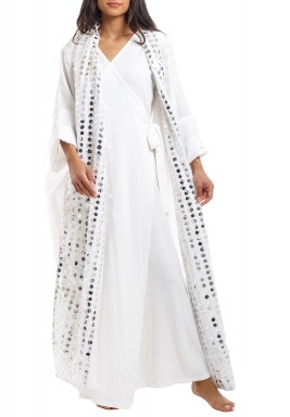 White Wrap Mirror Kaftan