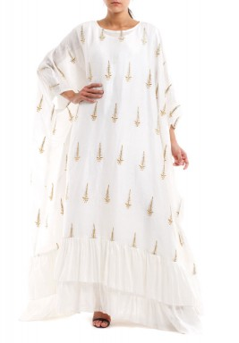 Bianca White Embroidered Ruffled Kaftan