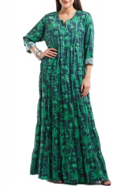 Multi green palms layered dress