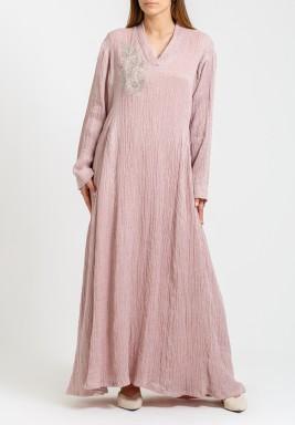 Pink Embroidered Maxi Kaftan