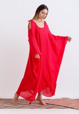 Red Wrinkled Tie-Shoulders Kaftan
