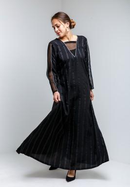 Black Flowy Sheer Sleeves Kaftan