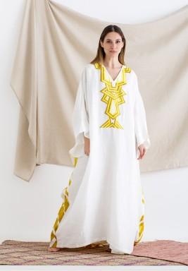 Lina White Embroidered Linen kaftan