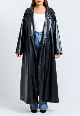 Black Leather Pleated Back Coat