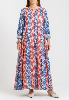 Blue & Red Printed Kaftan