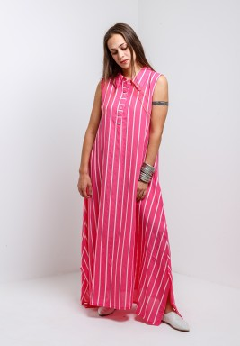 Pink Sleeveless Maxi Kaftan