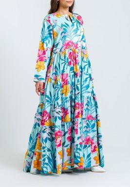 Blue Floral Pleated Kaftan