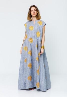 Blue Striped Yellow Flowers Kaftan