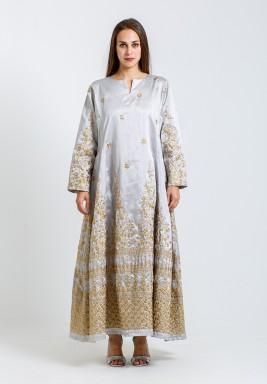 Silver & Beige Embroidered Kaftan