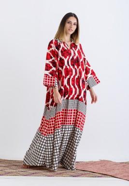 Red Printed Maxi Kaftan