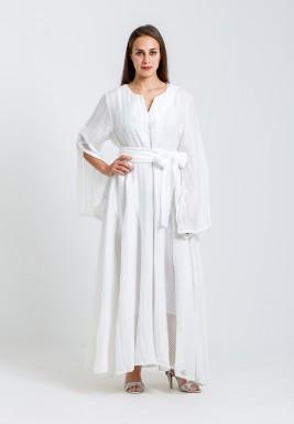 White Belted Net Details Kaftan