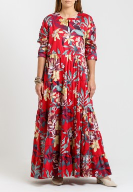Red Floral Tiered Maxi Kaftan