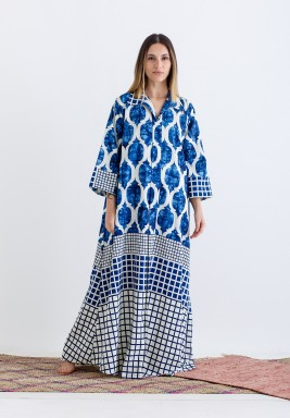 Blue Printed Maxi Kaftan