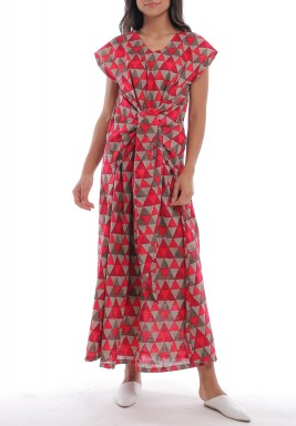Red & Grey Triangles Print Dress