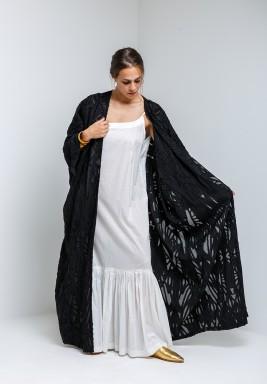 Black Bisht & Sleeveless White Dress
