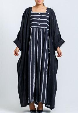 Layan Black Striped Dress Set
