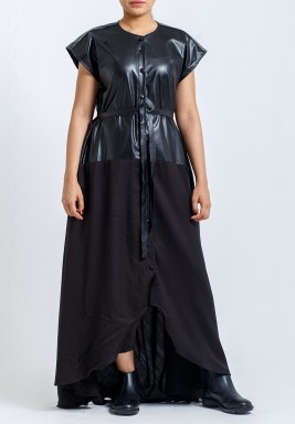 Black Leather Top Button Through Dress