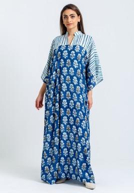 Blue Floral Maxi Kaftan