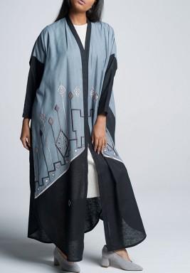 A dust Blue Abaya