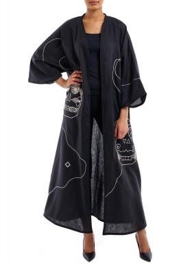 Silver embroidery abaya