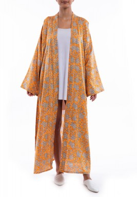 Orange Printed Slit Robe