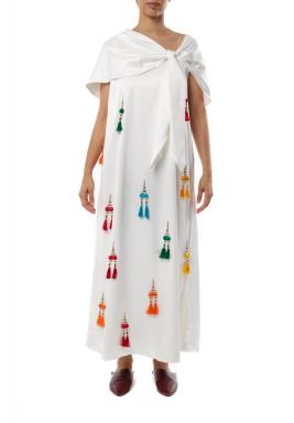 Front knot cape Dress