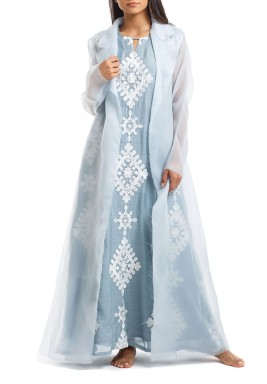 Deem Blue Embroidered Kaftan With Organza Bisht