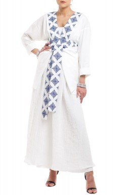Safa White Embroidered Kaftan Set