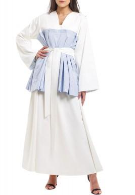 White & Blue Kimono Style Kaftan