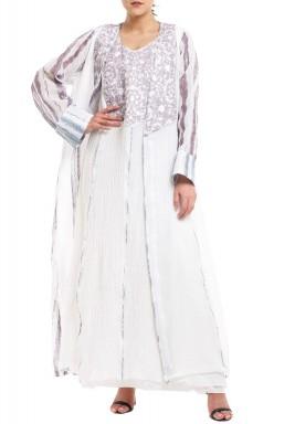 Lavendar & White Linen Kaftan Set
