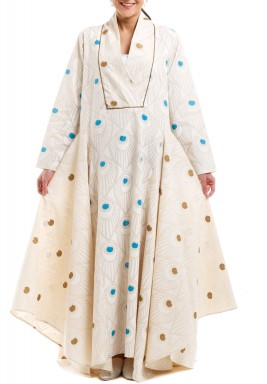 Jaipur Beige Cloche Patterned Kaftan