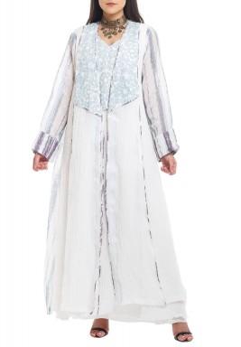 White & Blue Linen Kaftan Set