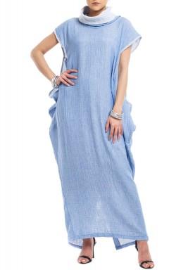 Blue Striped High-Neck Kaftan