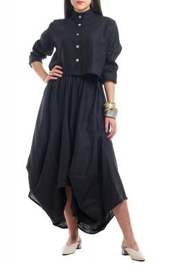 Black Ruffled Skirt Set