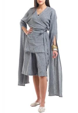 Grey Open Sleeves Kimono Set