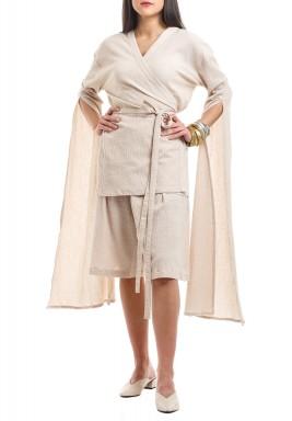 Beige Open Sleeves Kimono Set
