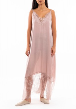 Pink Silk & Lace Sleeveless Dress