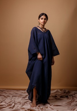 Navy Blue Braided Kaftan