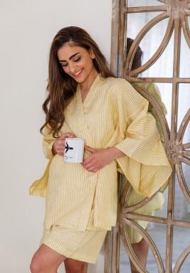 Yellow Kimono Short Set