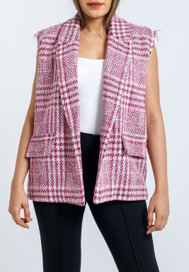 Pink Printed Sleeveless Vest