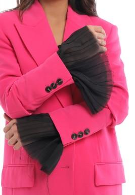 Black Pleated Ruffle Sleeves