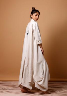 Beige Embroidery Kaftan