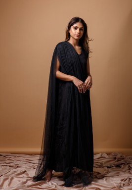 Black kaftan with Side Tulle