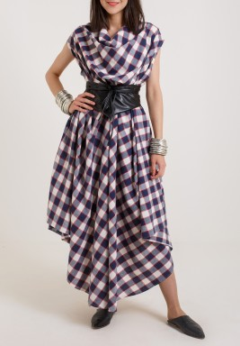 Belted Checkered kaftan