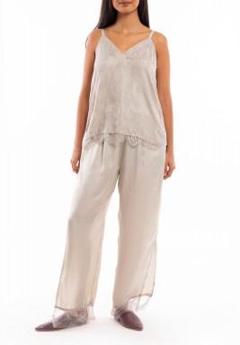 Light Grey Silk & Lace Set