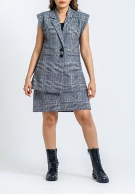 Grey Checked Blazer & Skirt Set