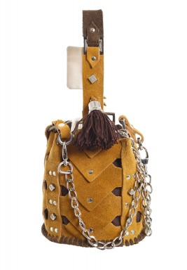 Mustard Mini Vertebrae Bucket Bag